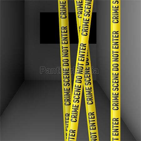 dark room with danger tape