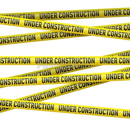 nastro di pericolo giallo in costruzione