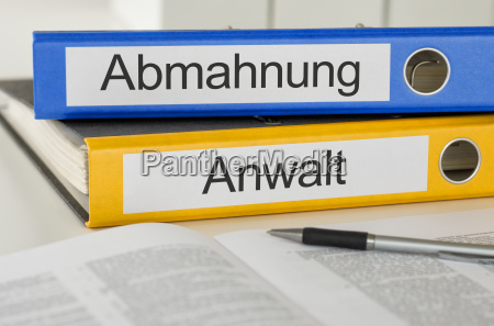 file folders labeled abmahung and attorney