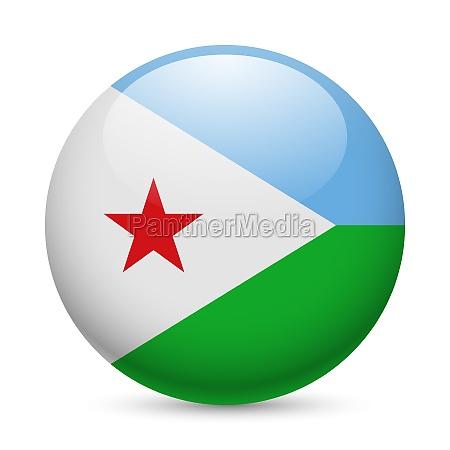 round glossy icon of djibouti