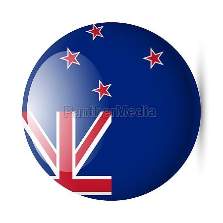 round glossy icon of new zealand