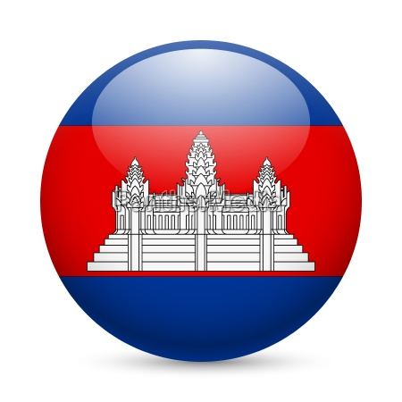 round glossy icon of cambodia