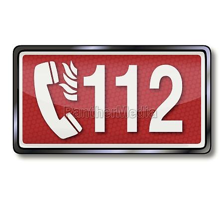 rettungszeichen mit notrufnummer 112 bei feuer