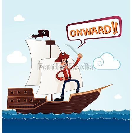 pirat auf einem segelschiff