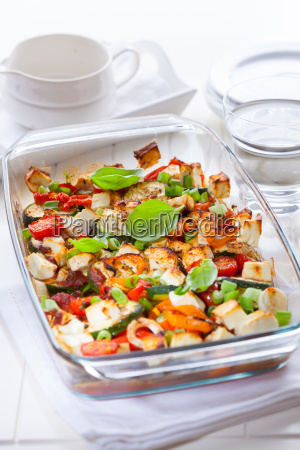 baked vegetable with sheep cheese