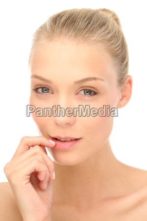 frau mund symbol attraktiv blau blick