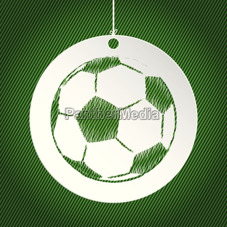 soccer ball label on green background