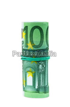 banknoten von 100 euro mit gummi