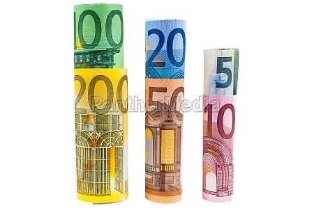 satz gerollter euro banknoten