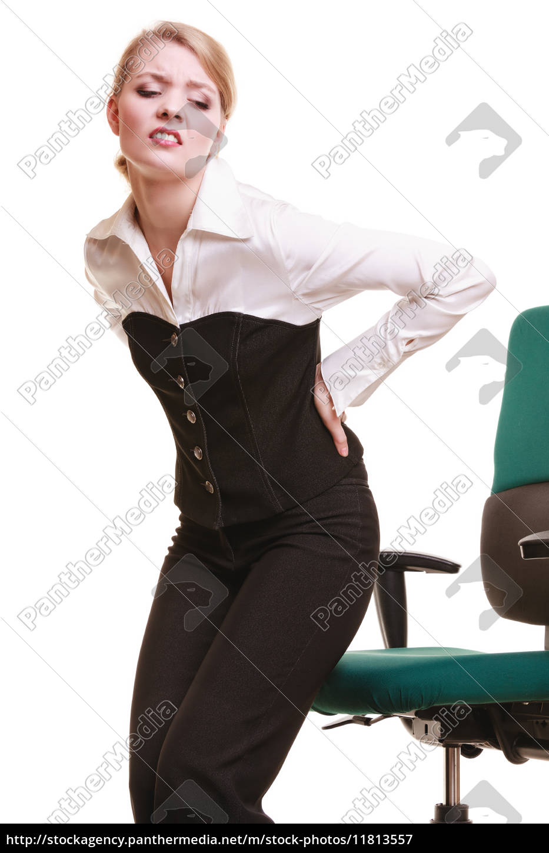 geschäftsfrau, mit, rückenschmerzen, rückenschmerzen, isoliert - 11813557