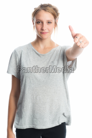 blonde girl shows thumbs up