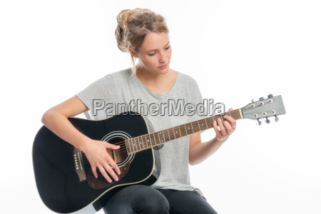blond girl with a guitar