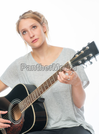 blonde girl with a guitar