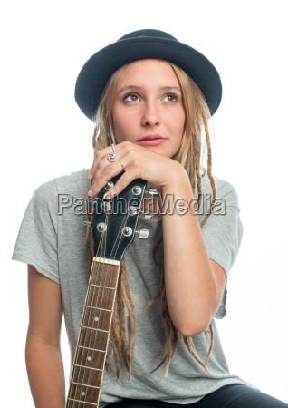 sensual blond woman with guitar