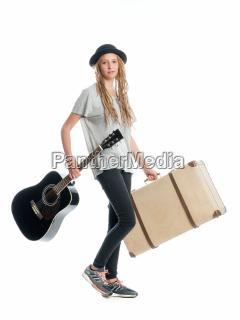 girl with suitcase and guitar