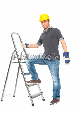 young man with construction helmet and