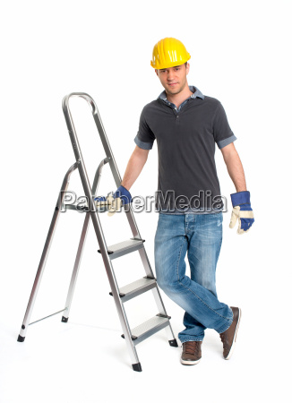 young man with hard hat and