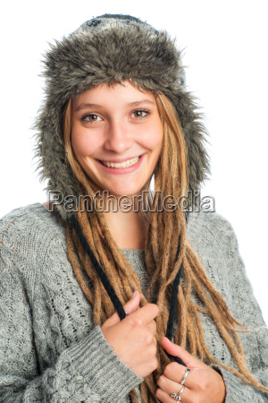 girl with dreadlocks and fur hat