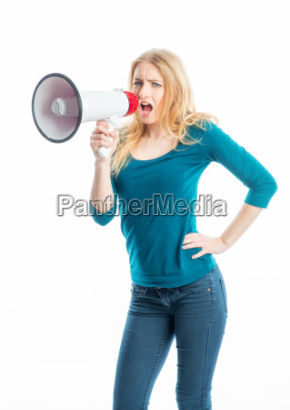 blond girl with megaphone