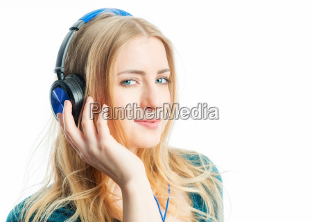 blond girl with headset