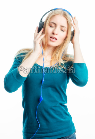 blonde girl with headset