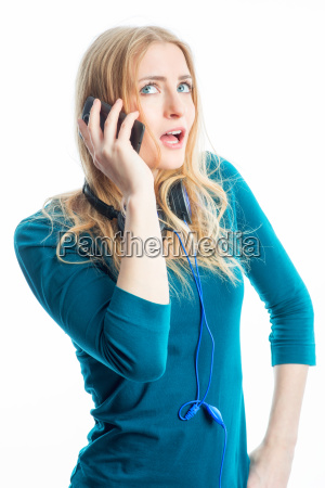 blond girl with mobile phone