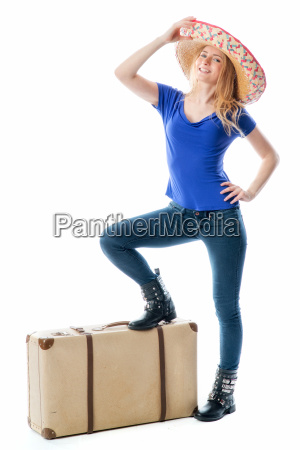 blonde girl with travel suitcase