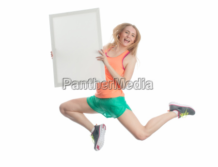 blonde sportswoman with advertising sign