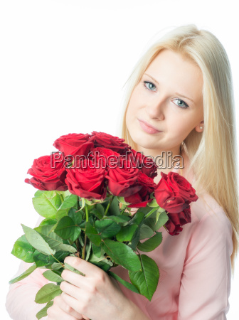 blond girl with a bouquet of