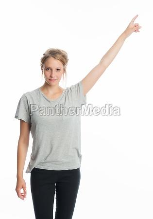 blondes, mädchen, zeigt, mit, dem, finger - 11816029