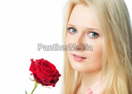 sensual girl with single rose