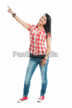 black haired girl pointing a finger