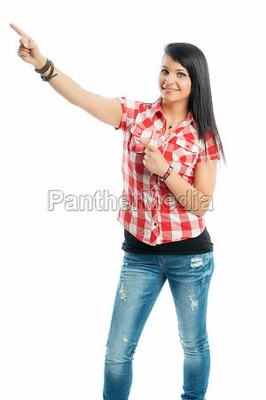 black haired girl shows her finger