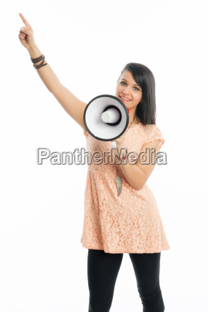 black haired girl with megaphone