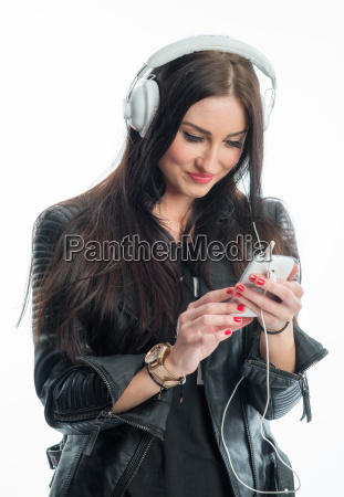 young woman with mp3 player and