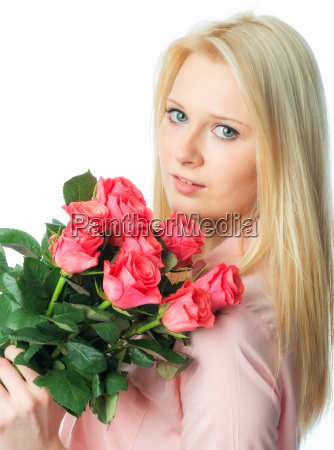blond girl with bouquet of roses