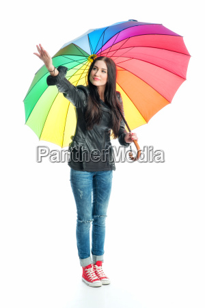 woman with umbrella is checking weather