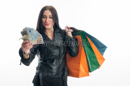 young woman on a spending spree