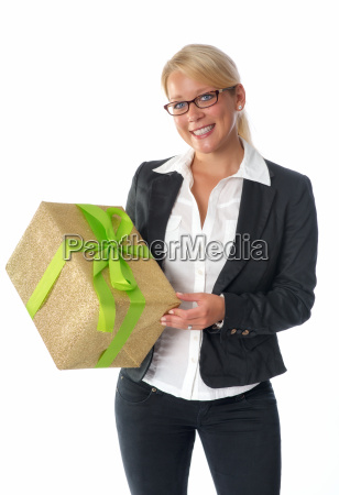 businesswoman with gift