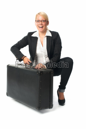 business woman with suitcases