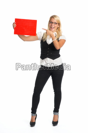 blond woman holding advertising sign