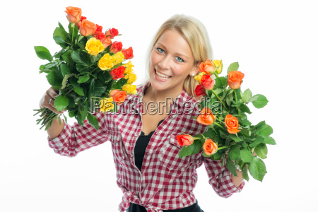 blonde woman holds rose bouquets