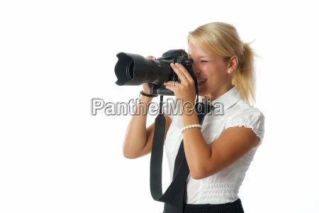 blond woman with camera
