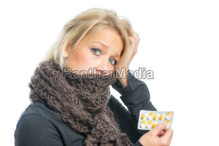 sick blond woman with medication