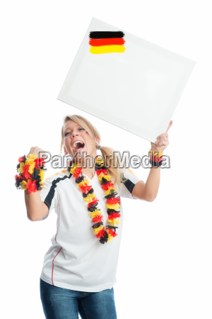 cheering football fan with germany flags