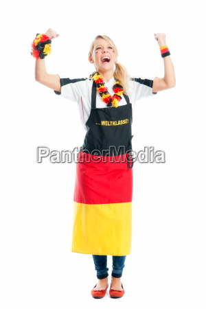 jubilant blond football with fanschuerze