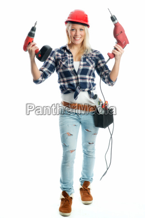female artisan with the cordless screwdriver