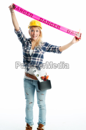 female craftsman with barrier belt