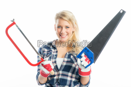 woman with hacksaw and foxtail