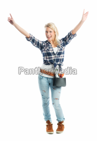 woman spirit level delighted unambitious enthusiastic